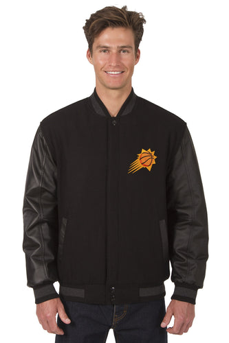 Phoenix Suns Wool & Leather Reversible Jacket Featuring Front Logo