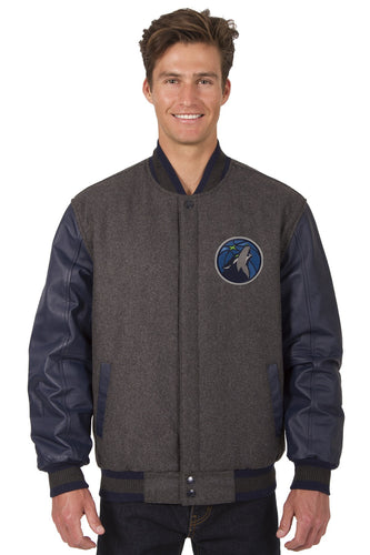 Minnesota Timberwolves Wool & Leather Reversible Jacket Featuring Front Logo