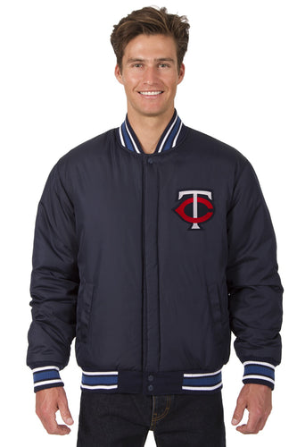 Minnesota Twins Wool Reversible Jacket Featuring Front & Back Logos