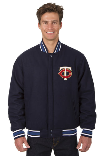 Minnesota Twins MLB Wool Reversible Jacket Featuring a Front Chest Logo Only