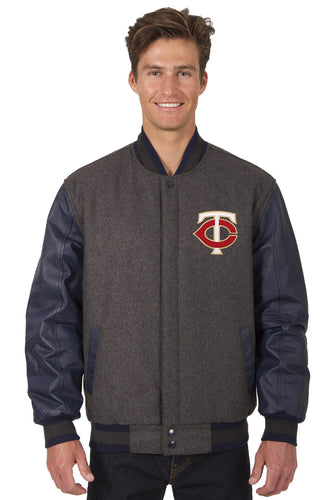 Minnesota Twins MLB Wool & Leather Reversible Jacket Featuring Front Logo