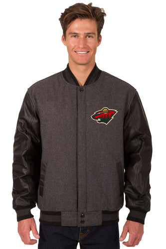 Minnesota Wild NHL Wool & Leather Reversible Jacket Featuring Front Logo