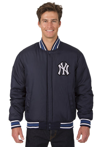 New York Yankees Wool Reversible Jacket Featuring Front & Back Logos Throwback