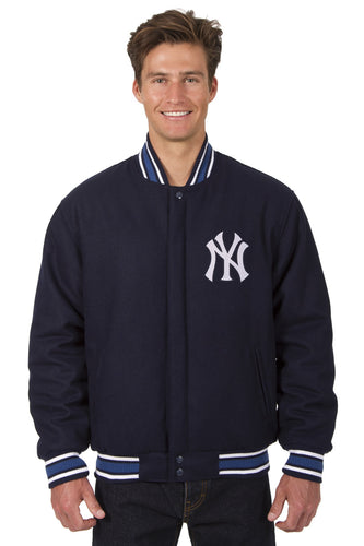 New York Yankees MLB Wool Reversible Jacket Featuring a Front Chest Logo Only