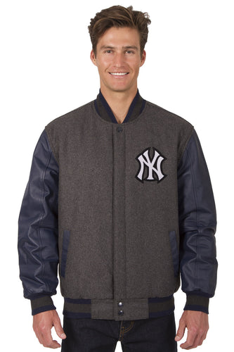New York Yankees Retro Wool & Leather Reversible Jacket Featuring Front & Back Logos