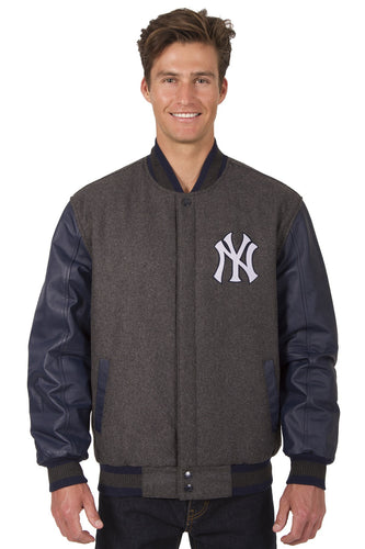 New York Yankees MLB Wool & Leather Reversible Jacket Featuring Front Logo