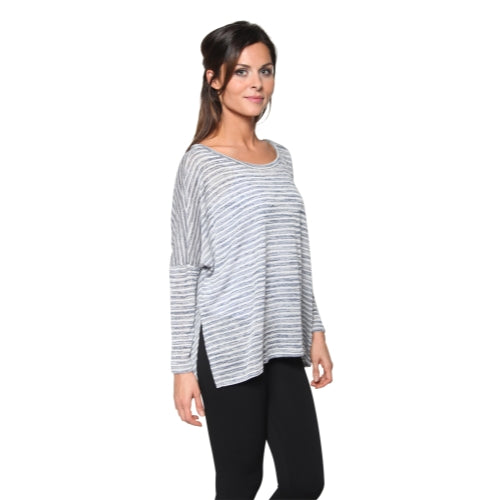 Women's Striped Side Slit Lightweight Sweater Top with Squared Hem