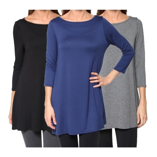 3 Pack: Women's Loose Fit Elbow Sleeve Tunics
