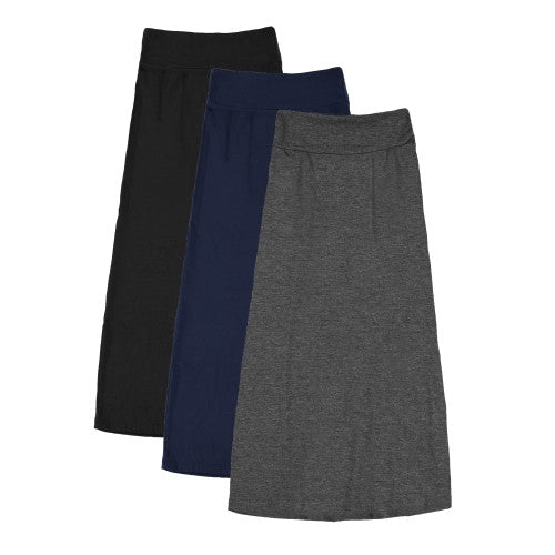 3 Pack: Women's Basic Girls Maxi Skirts