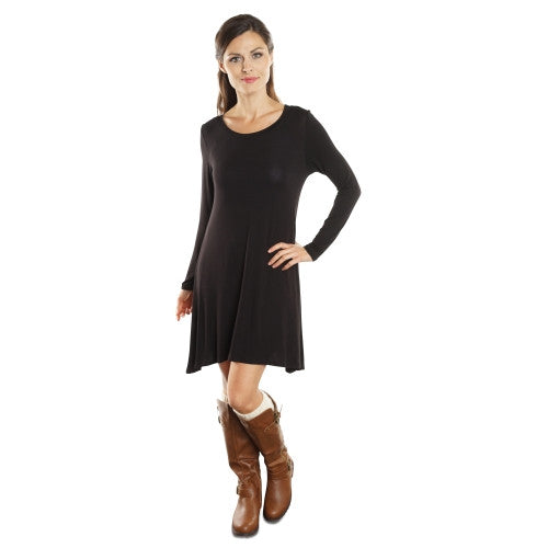 Women's Long Sleeve or Short Sleeve Flowy T-shirt Dress