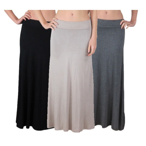 3 Pack: Women's Foldover Waist Basic Maxi Skirts