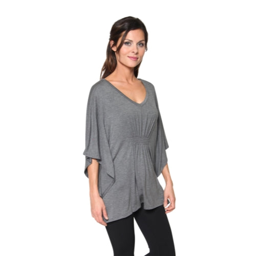 Women's Long Loose Fit Smocked V-neck Tunic