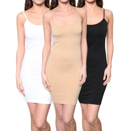 3 Pack: Women's Seamless Spaghetti Strap Slip Dress