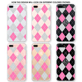 Argyle Monogram Pink Gray White Phone Case