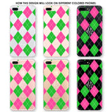 Argyle Monogram Pink Green White Phone Case
