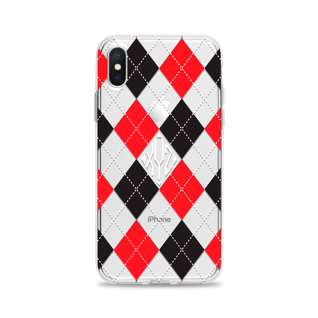 Argyle Monogram Red Black White Phone Case