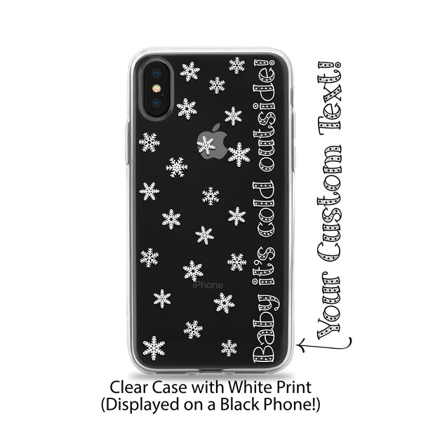 meet d7a89 837bb Clear TPU Rubber iPhone Case Printed with Snowflakes and Personalized