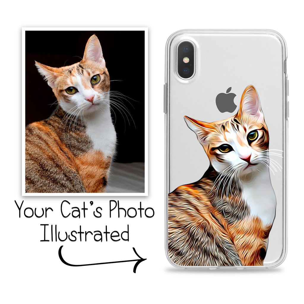 Custom Illustrated Cat Phone Case