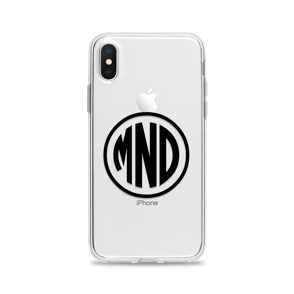 Three Initials Circle Monogram Phone Case