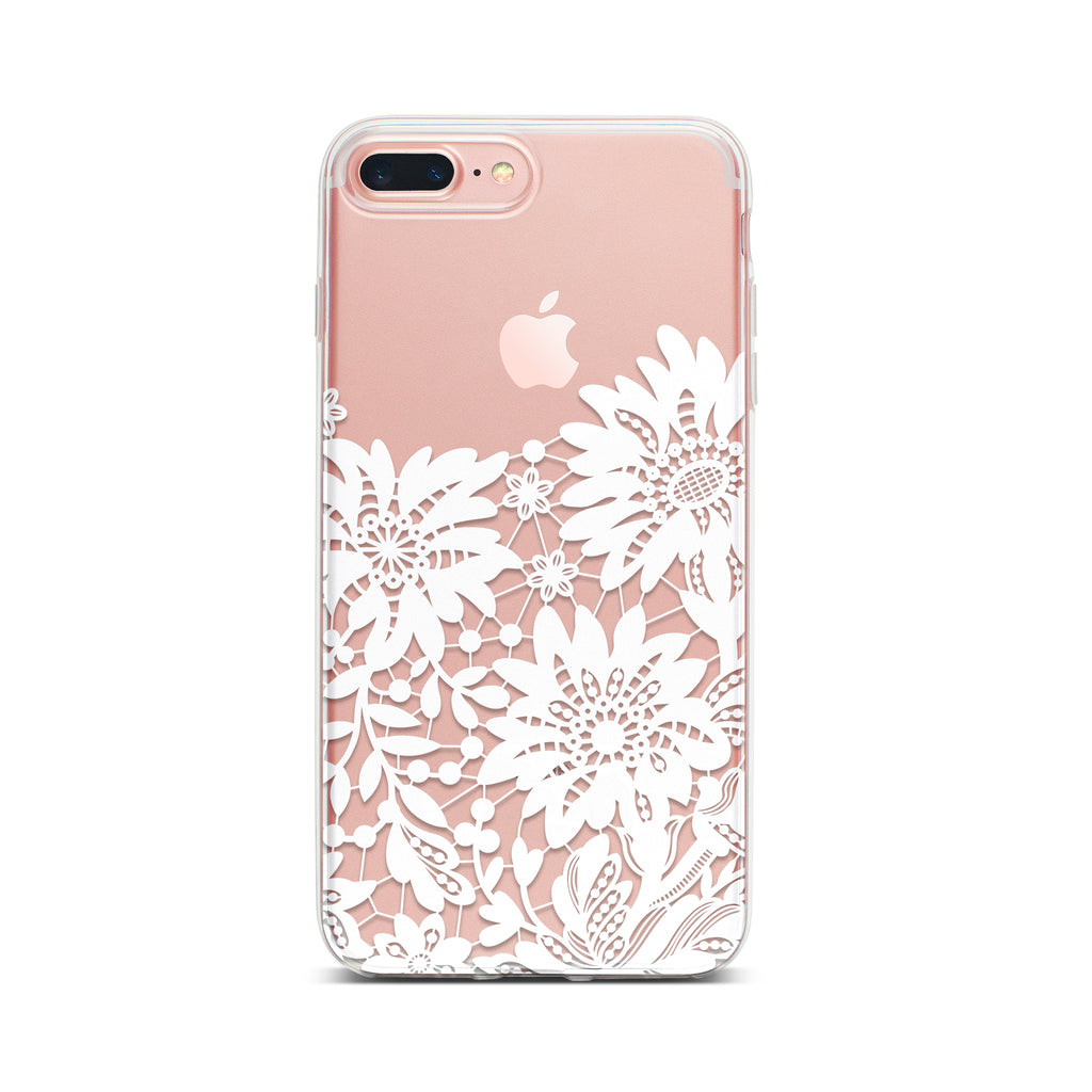 Clear Phone Case With White Lace Design For Iphone Case Charming