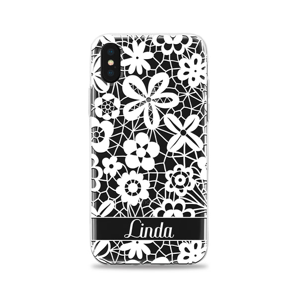 White Wildflowers in Lace Phone Case