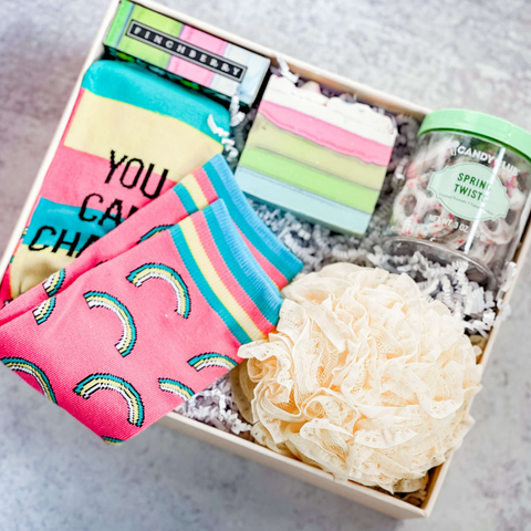 Easter Gift Box with rainbow socks, lace loofa, candy and soap