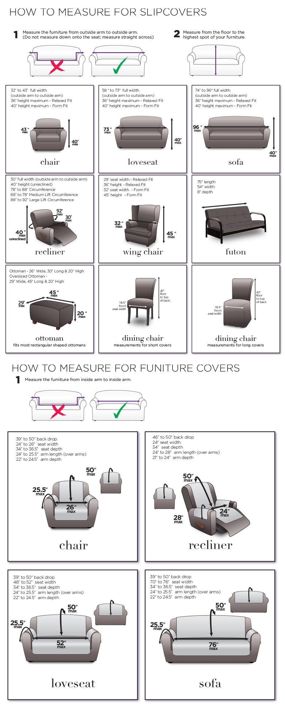 Picture of: Measuring Guide For Slipcovers Chairs Loveseats Sofas Recliners Surefit