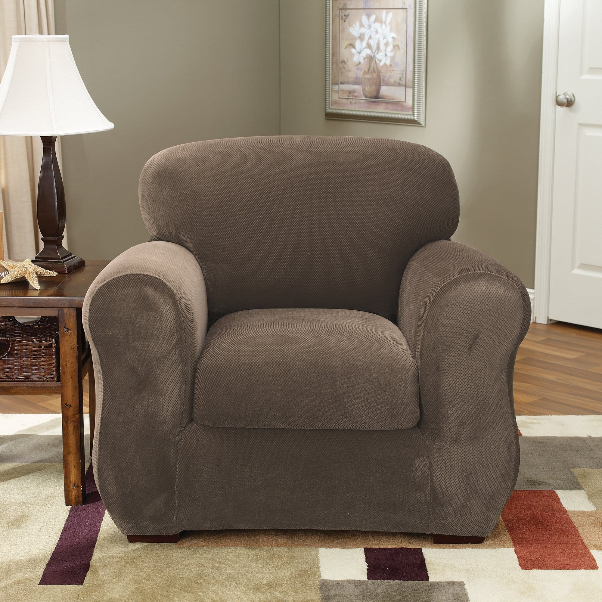 Stretch Pique Two Piece Chair Slipcover Slipcovers For Chairs Surefit