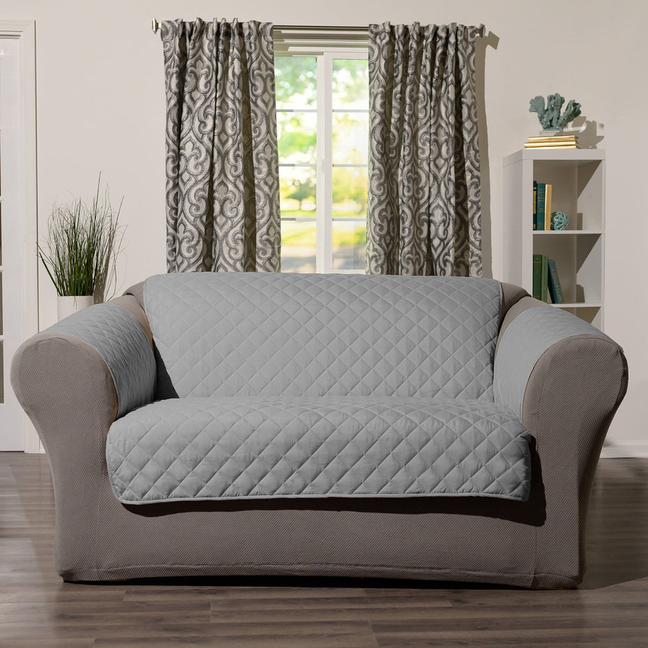 Grey Sure Fit Loveseat Waterproof Pet Cover Furniture Throw with Strap in Gray