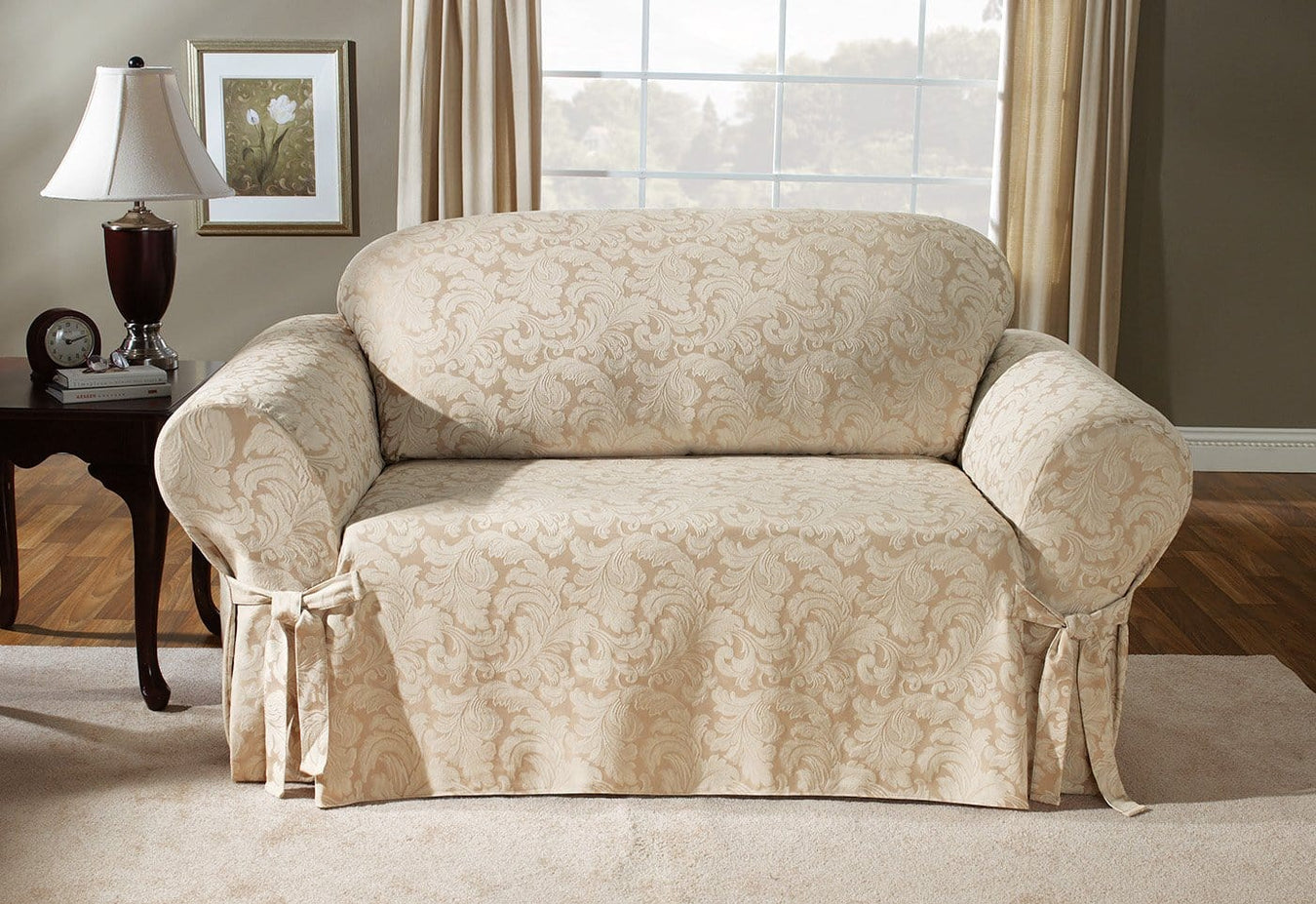 Scroll One Piece Loveseat Slipcover