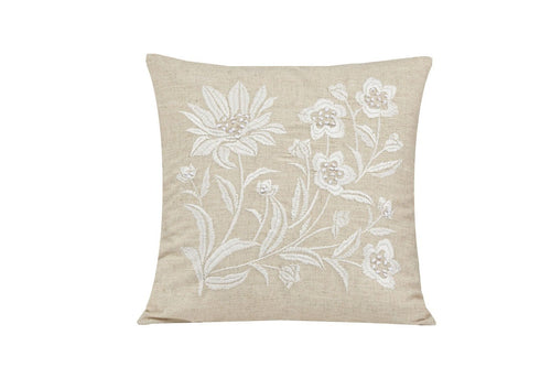Floral Embroidered 20x20 Decorative Pillow Cover