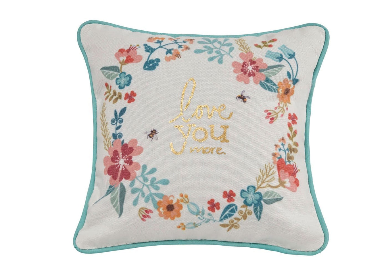 Love You More Wreath Decorative Pillow 9x9