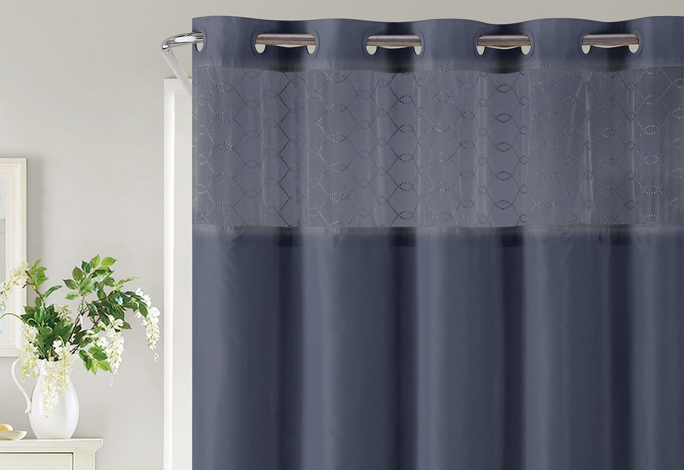 Hookless® Downtown Soho Shower Curtain Includes Snap On/Off Replaceable Liner - Indigo Blue