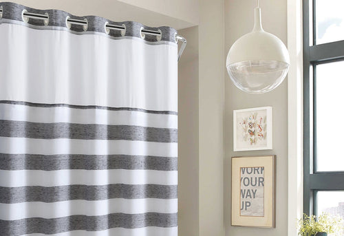 Yarn Dye Stripe Shower Curtain with Fabric Liner