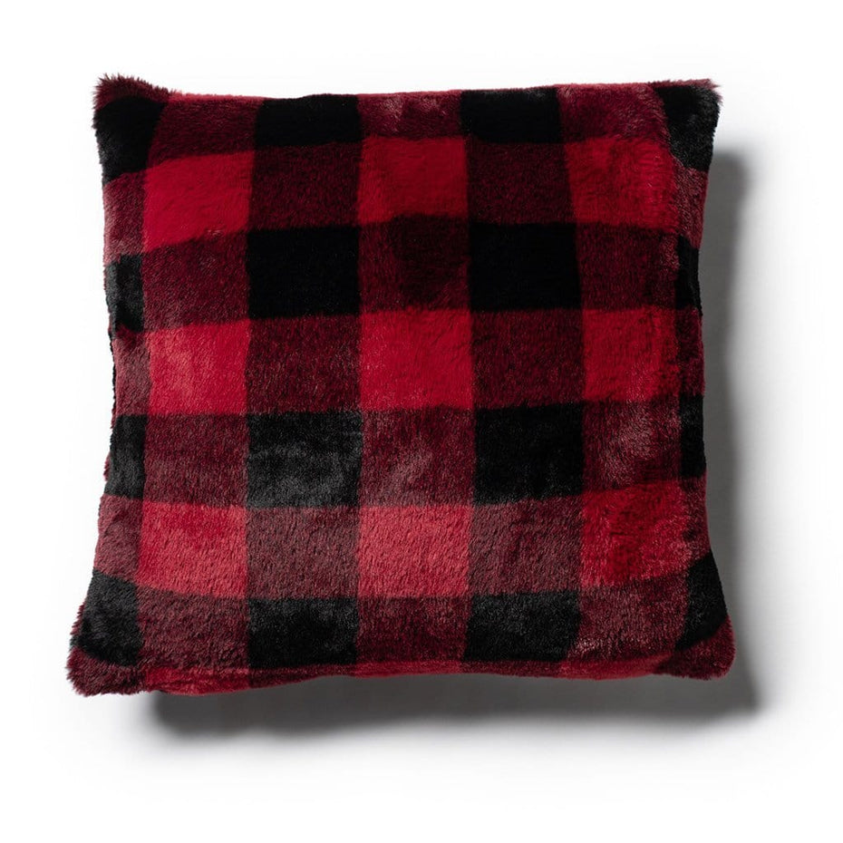Plush Buffalo Plaid 18 Inch Holiday Throw Pillow Red Black