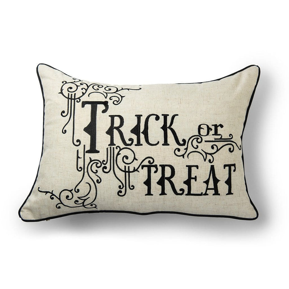 Trick or Treat Halloween Decorative Throw Pillow Black