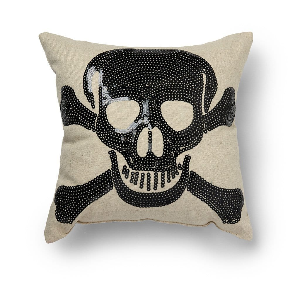 Crossbones Halloween 11 Inch Decorative Throw Pillow - 11 x 11 / Black/Natural