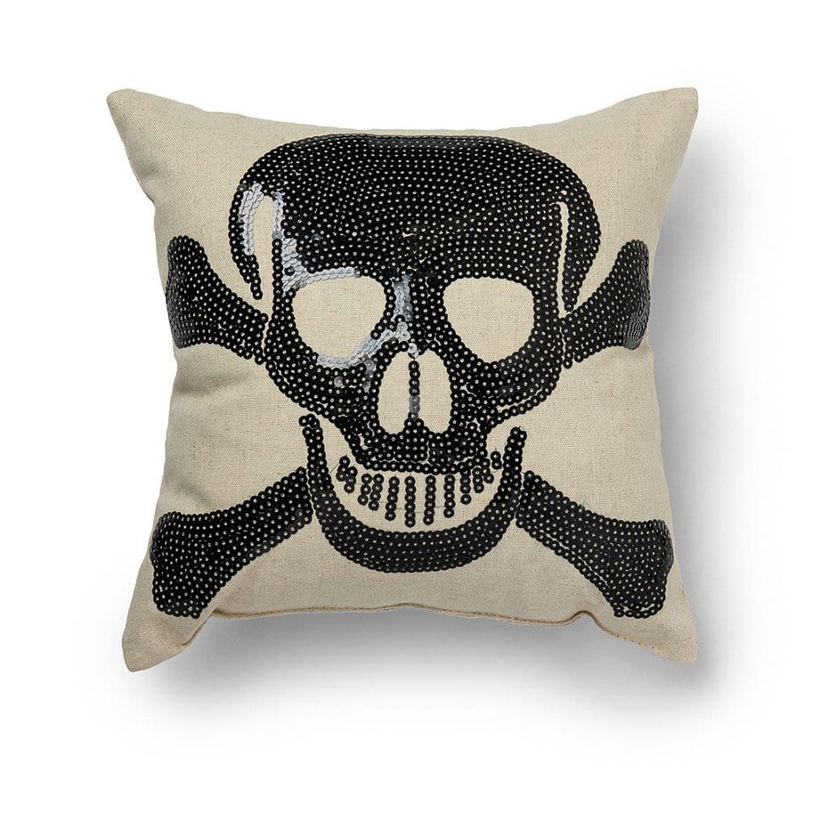 Crossbones Halloween 11 Inch Decorative Throw Pillow Black