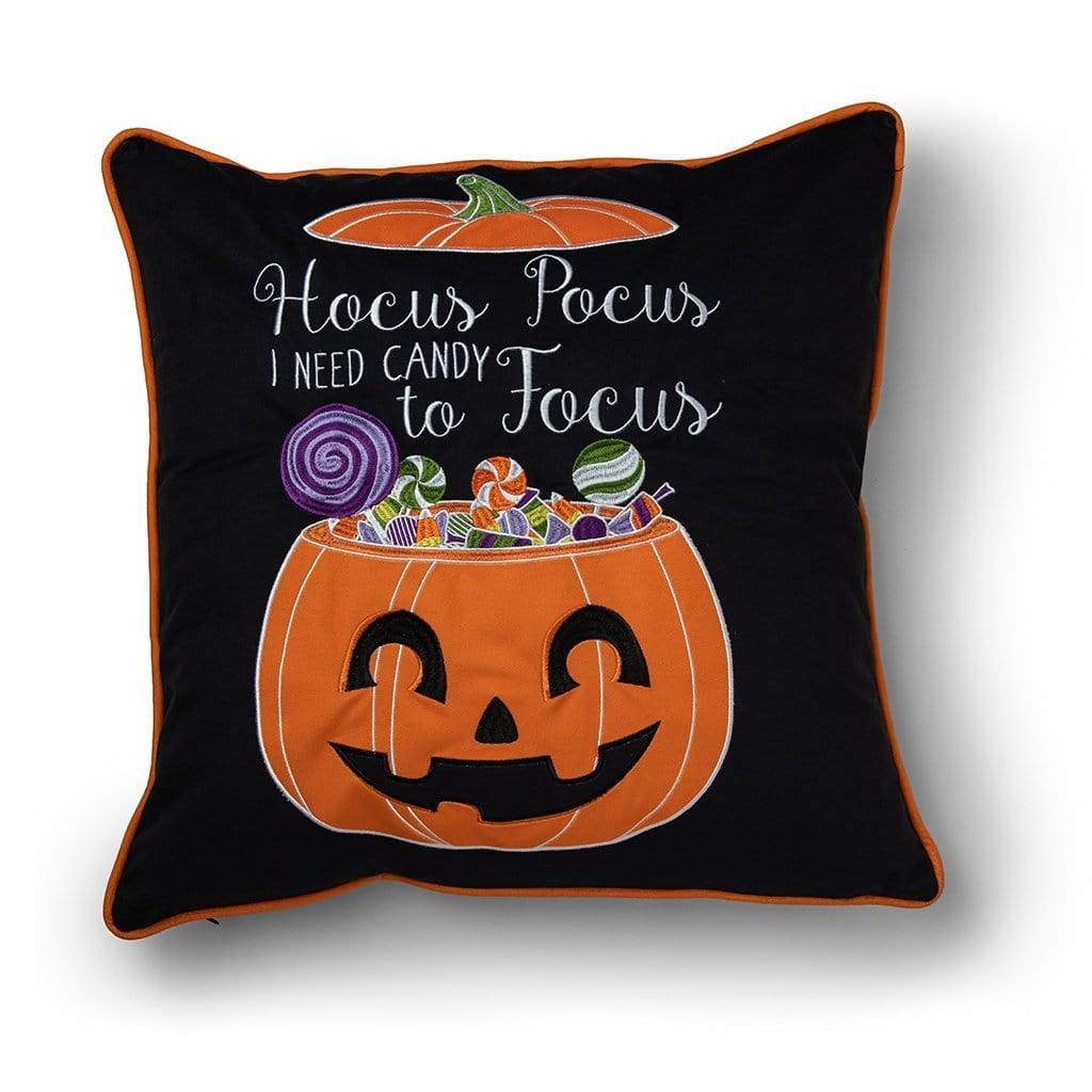 Hocus Pocus Halloween 20 Inch Velvet Decorative Throw Pillow - 20 x 20 / Orange Multi