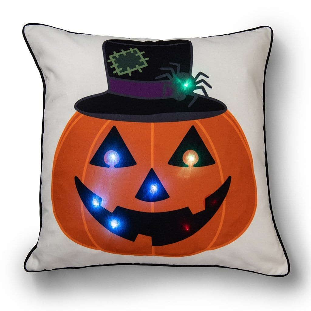 Light Up Jack O'Lantern 20 Inch Decorative Throw Pillow - 20 x 20 / Orange Multi