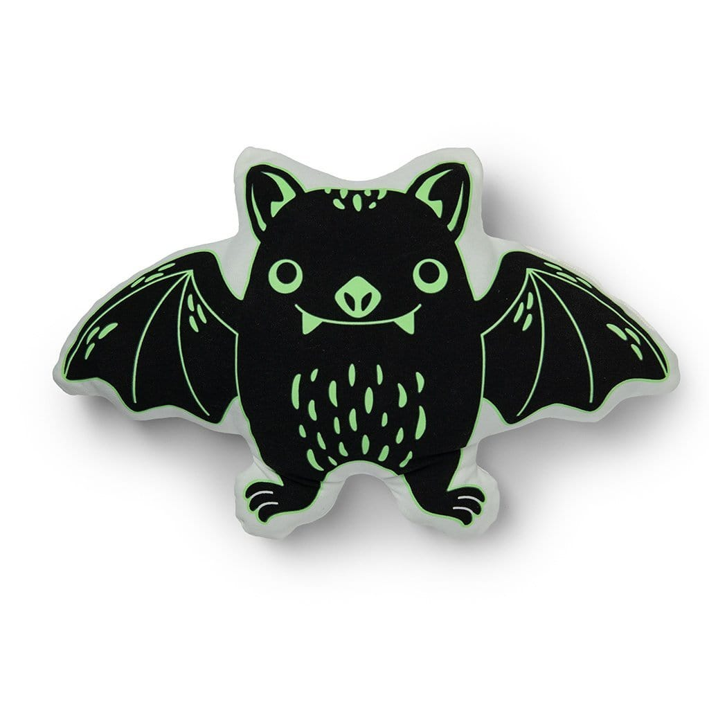Glow in the Dark Bat Shaped Halloween Decorative Throw Pillow - 18 x 12 / Black/ Green/ White