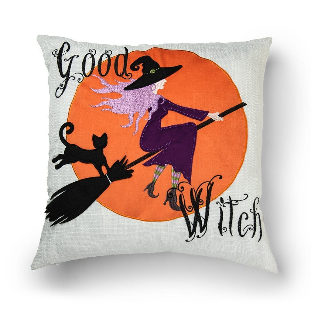 Good Witch Halloween 20 Inch Decorative Throw Pillow - 20 x 20 / Orange Multi