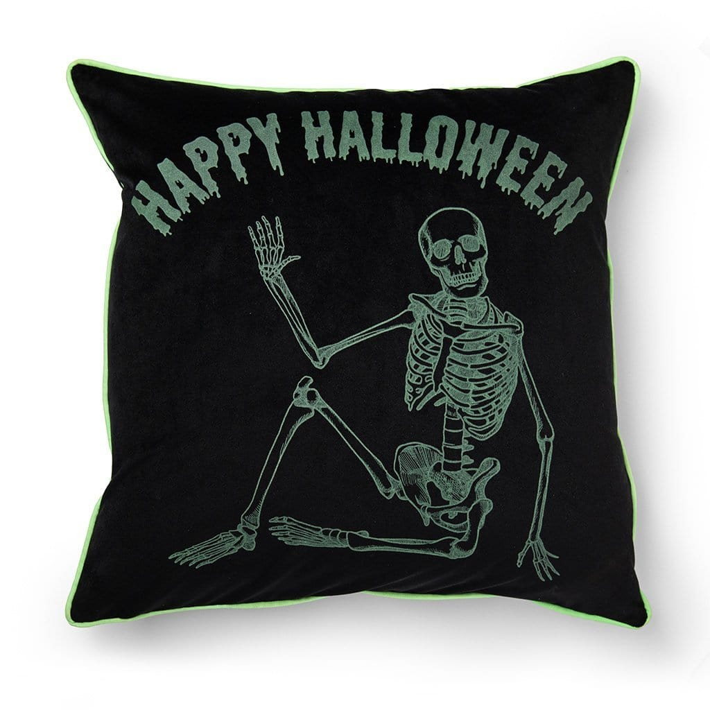 Happy Halloween Glow in the Dark Skeleton 20 Inch Throw Pillow - 20 x 20 / Black/ Green