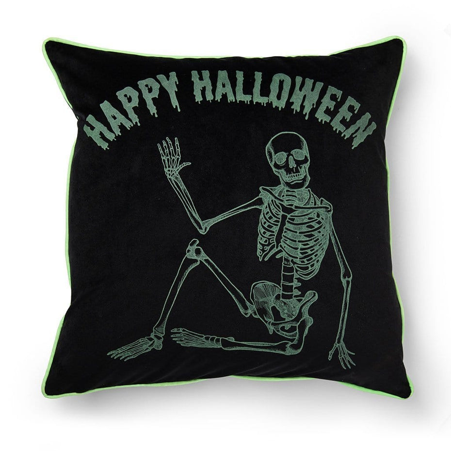 Happy Halloween Glow in the Dark Skeleton 20 Inch Throw Pillow