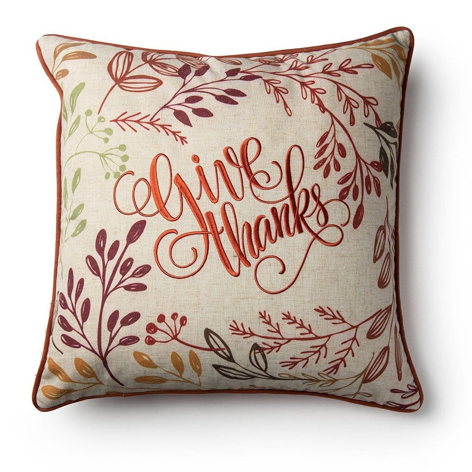 Give Thanks Embroidered Fall Harvest 18 Inch Decorative Fall Throw Pillow