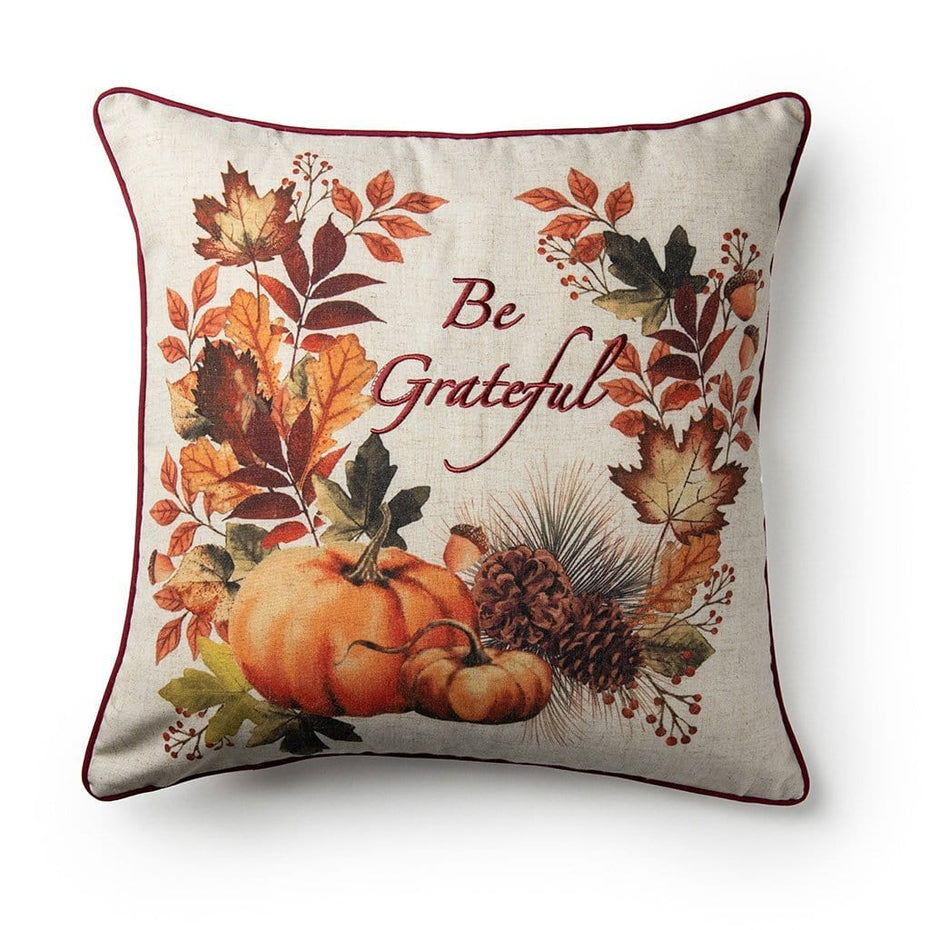 Be Grateful Embroidered Fall Harvest 18 Inch Decorative Throw Pillow