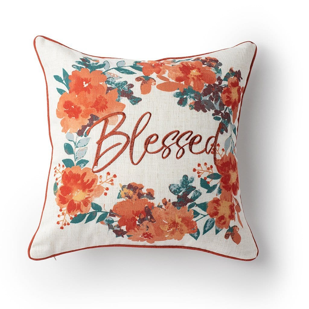 Blessed Embroidered Fall Harvest 18 Inch Decorative Throw Pillow - 18 x 18