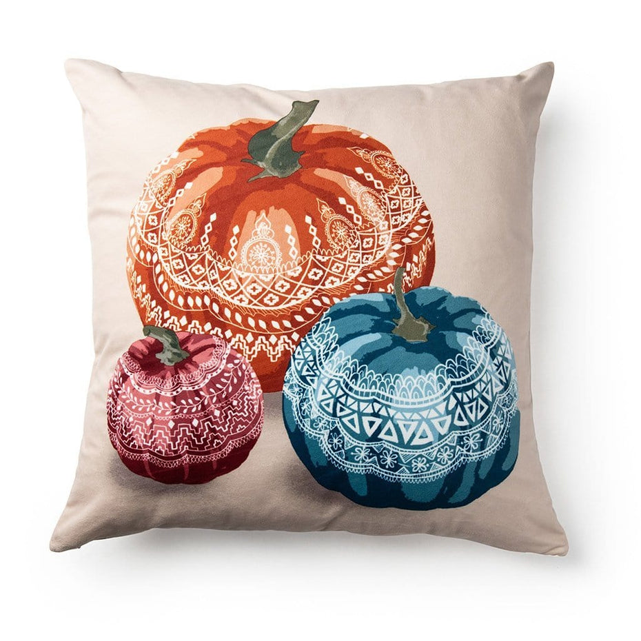 Henna Pumpkin Fall Harvest 20 Inch Velvet Decorative Fall Throw Pillow