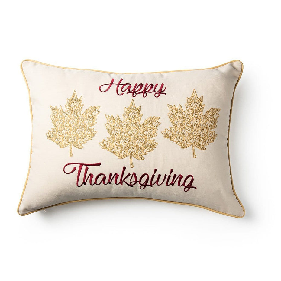 Happy Thanksgiving Embroidered Decorative Throw Pillow Gold White