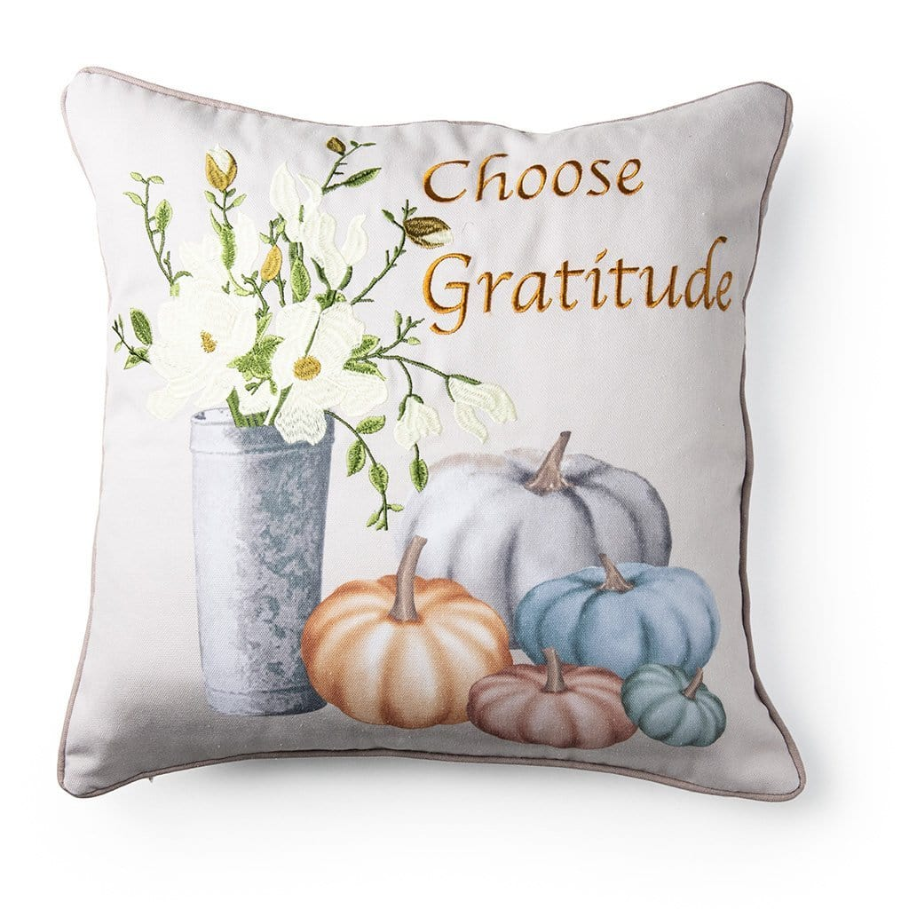 Choose Gratitude Fall Harvest 20 Inch Decorative Throw Pillow - 20 x 20